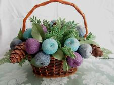 Vintage Faux Sugar Coated Beaded Artificial Fruit Basket Mid Century Retro Color