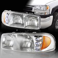 For 1999-2006 GMC Sierra LED Chrome Housing Clear Headlights W/Amber Reflector