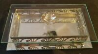 Studio Silversmiths Jewelry Box Silver Filigree Rose Beveled Glass Mirrored VTG