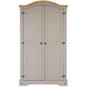 Corona Grey Wax Pine Wardrobe 2 Door Hanging Rail Shelf Solid Wood Bedroom