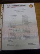 19/03/2014 Colour Teamsheet: Manchester United v Olympiacos [Champions league] .