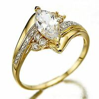 Marquise Cut White Sapphire 18K Gold Filled Woman's Wedding Rings Size 6-10