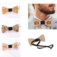 Fashion Men's Wooden Bow Tie Wood Bowtie Adjustable Necktie Wedding Gifts