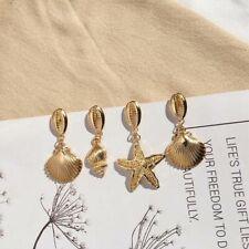 UK Irregular Jewelry Exaggerated Cowrie Shell Gold Geometric Stud Earrings