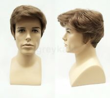 Mens Short Straight Wavy Side Part Wig Synthetic Black Brown Blonde