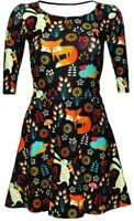 Floral Fox, Rabbit, Hedgehog Animal Nature Print 3/4 Sleeve Skater Flare Dress