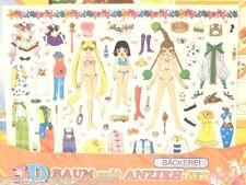 NEW Vintage Sailor Moon AMAZONESS QUARTET JunJun Saturn Decal Doll Stickers Wand