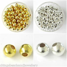 Silver Gold Plated 2mm 3mm 4mm 5mm 6mm 8mm 10mm 12mm Spacer Beads