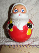 """Vintage SANTA ROLLY-POLLY Christmas Toy KIDDIE PRODUCTS INC USA Plastic 4.5""""Tall"""