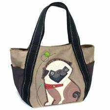 NEW CHALA PUG PUPPY DOG BROWN TAN CANVAS CARRYALL TOTE PURSE HANDBAG CANVAS