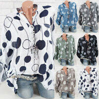 Plus Size Womens Casual Long Sleeve Polka Dots Printed Baggy T-Shirt Tops Blouse