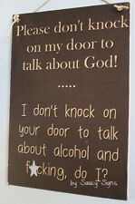 Naughty Door Knockers Alcohol F*cking God Sign - welcome warning beer wine bar