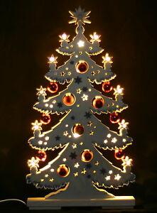 3D-Schwibbogen LED Tanne Tannenbaum roten mit Kugeln 57x30cm Erzgebirge Neu