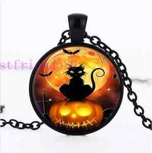 Halloween Cat  Photo Cabochon Glass Black Chain Pendant Necklace