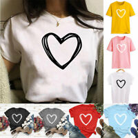 Fashion Women Ladies Short Sleeve T Shirt Blouse Heart Printed Casual Tees Tops