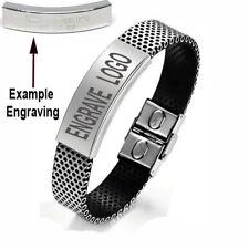 Stainless Steel Mesh Mens Silver Personalised ID Bracelet Free Engraving