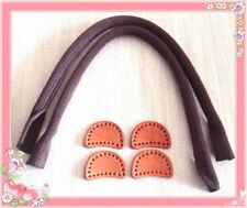 38cm Taschengriffe Leder Leinen braun 1 Paar