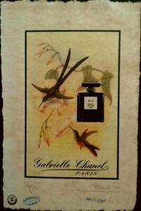 CHANEL, Oiseaux D'été, Artist Proof Print 22'x 15'x Hand Signed Fairchild Paris