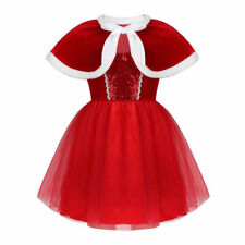 Kids Girls Christmas Costume Shiny Sequins Mesh Tutu Dress with Capelet Outfit