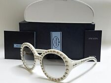 New Authentic PRADA PR29QS 7S30A7 Ivory Studded/Gray Gradient 57mm Sunglasses