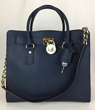 NEW MICHAEL KORS HAMILTON LARGE NORTH SOUTH TOTE PURSE BAG NAVY 30S2GHMT3L $358