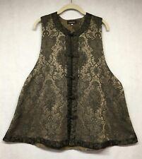 Eskandar Asian Mandarin Green Textured Vest Top sz 1