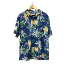 TOMMY BAHAMA Silk Polyester Blend Blue Floral Hawaiian Print Shirt Mens Size L