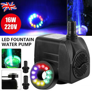 Electric Submersible Water Fountain Pump With LED Light Pond Garden Pool 800L/H