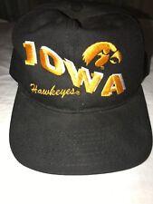 b55322638a23e Vintage 80s IOWA HAWKEYES Wave Double Big Script Logo By Palmer SnapBack Hat