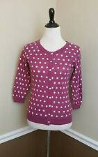 NEW Modcloth Cardigan S Mauve Polka Dot Sweater 3/4 Sleeves Dot in the Act Retro