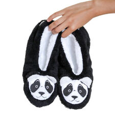 Faceplant Dreams Bearly Awake Black and White Panda Bear Slipper Footsies Medium