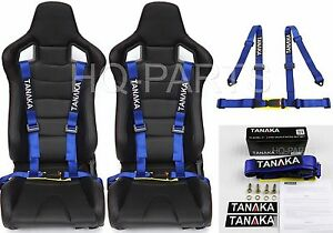 2 X TANAKA UNIVERSAL BLUE 4 POINT BUCKLE RACING SEAT BELT HARNESS