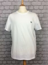 FRED PERRY MENS UK L WHITE CORE TONAL RINGER SHORT SLEEVE T-SHIRT SUMMER HOLIDAY