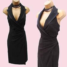 KAREN MILLEN Black Wool Tuxedo Style Halterneck Wrap Wiggle Cocktail Dress 8 UK