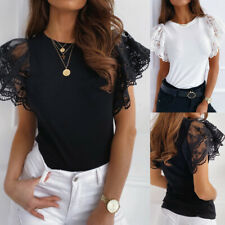 Damen Spitze Kurzarm T-shirt Oberteile Freizeit Hemd Bluse Tunika Slim Top Shirt