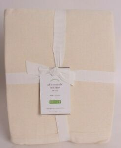 """Pottery Barn PB Essential Cotton & Linen Bed Skirt, 14"""" Drop, Twin, ivory"""