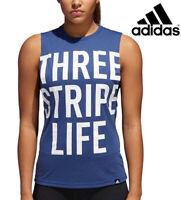 Adidas Three Stripe Life Muscle Tank Women's Navy White Size Large