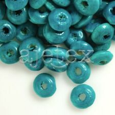 30g(400pcs About) Wooden Spacer Wood Beads 3x6mm Rondelle Turquoise Blue WB38