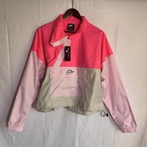 Nike Sportswear Icon Clash Women's Woven Anorak Jacket Windbreaker Pink Size L