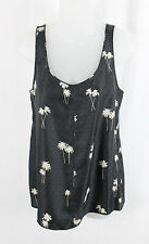 Rag & Bone Women's Gray Light Beige Palm Tree Print Silk Tank Top Shirt Size S