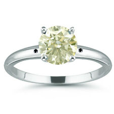 2.64 ct SI1./NATURAL OFF WHITE REAL MOISSANITE DIAMOND .925 SILVER RING