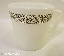 Corning Pyrex 300ml Coffee Mug Cup Milk Glass Retro Woodland Pattern Flowers VTG