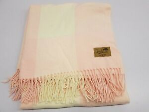 Lands Downunder BUFFALO PLAID Throw Blanket PINK FRINGE ITALY BEDDING NEW $128