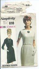 S 6118 sewing pattern 60's Designer Fashion DRESS sew Elegant misses' size 18/38