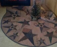 """PRIMITIVE STAR QUILTED COUNTRY CHRISTMAS TREE SKIRT APPROX. 58"""" D TEA DYED"""