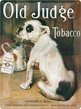 Old Judge Tobacco Blechschild 30x40 cm - Mischling Mops Sign Tabak Schild