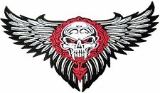 """Vampire Skull Reaper Wings Rider Biker  Big XL Embroidered Back Patch 11"""""""