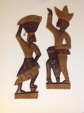 2 LARGE MCM WOODEN TRIBAL MAN & WOMAN WALL ART AFRICAN CULTURE COLLECTOR