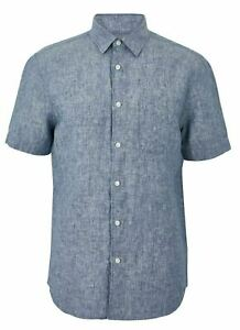 Mens Linen M&S Short Sleeve Shirt Pocket Curved Hem