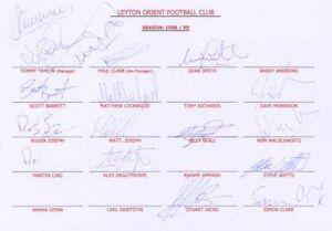 Leyton Orient FC - Signed Team Sheet - COA (14490)